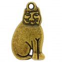 Breloque métal chat 11x19mm bronze (x1)