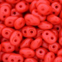 Perles SuperDuo 5x2,5mm opaque coral red (x10g)