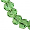 Perles cristal oblates à facettes 4x6mm vert peridot translucide (x50)