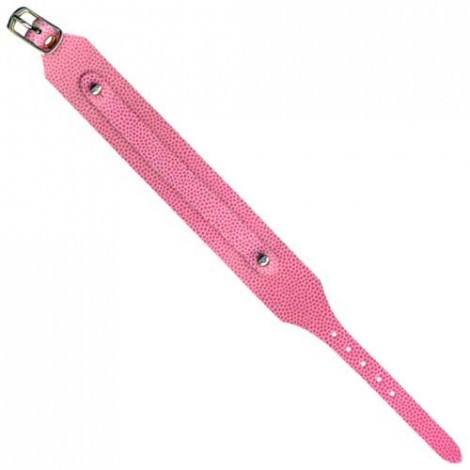 Bracelet en cuir simple tour 22cm rose lézard (x1)