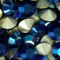 Strass rond pointu en cristal Swarovski 6mm METALLIC BLUE (x10)