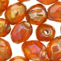 Perles grain de riz en verre orange irisé translucide 6x8mm (x40)