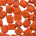 Perles céramique cube 5x5mm orange lustré (x50)