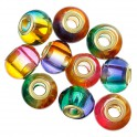 Perles rondes en verre grands trous 11x15mm multicolore (x5)