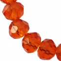Perles cristal oblates à facettes 4x6mm orange translucide (x50)
