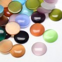 Cabochons ronds en verre oeil de chat 10mm assortiment (x30)