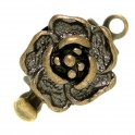 Fermoir clip fleur 10x14mm bronze antique (x1)