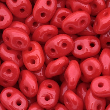 Perles SuperDuo 5x2,5mm Opaque Red (x10g)