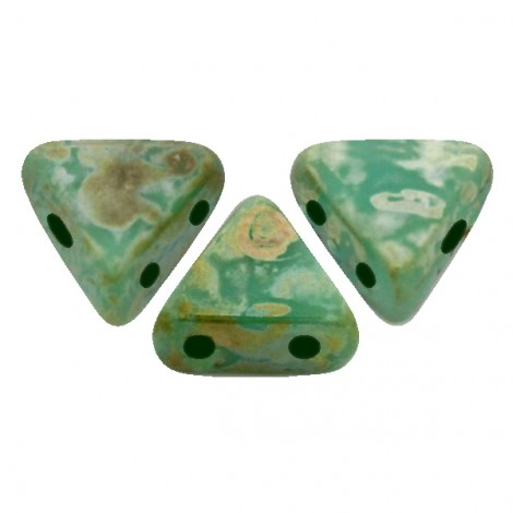 Perles Khéops® par Puca® 6mm Opaque Green Turquoise Picasso (x10g)
