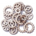 Engrenages steampunk en bois 12-40mm beige (x50)