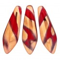 Perles Dague 5x16mm Opaque Red Capri Gold Stripes (x20)