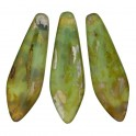 Perles Dague 5x16mm Opaque Green Picasso (x20)