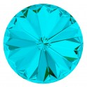 Rivoli 1122 cristal Swarovski 8mm Light Turquoise - silver foiled (x1)