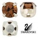 Chatons montés cristal Swarovski 4mm LIGHT SMOKED TOPAZ (x10)
