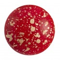 Cabochon par Puca® rond en verre 25mm OPAQUE CORAL RED SPLASH (x1)