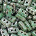 Perles Piros® par Puca® 3x5mm OPAQUE GREEN TURQUOISE NEW PICASSO (x5g)