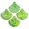 Perles Ginko Leaf 7x7mm CONFETTI SPLASH GREEN (x10g)