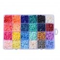 Kit perles rondelles Heishi en Fimo 6mm assortiment (x24 couleurs)