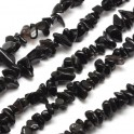 Perles gemmes chips 4-10mm Black Obsidienne Naturel (x80cm)