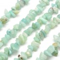 Perles gemmes chips 4-10mm Amazonite clair Naturel (x80cm)