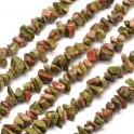 Perles gemmes chips 4-10mm Unakite Naturel (x80cm)
