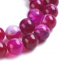 Perles gemmes rondes 8mm Agate Rayures (x15)