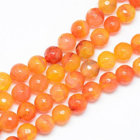 Perles gemmes rondes 8mm Agate orange (x15)