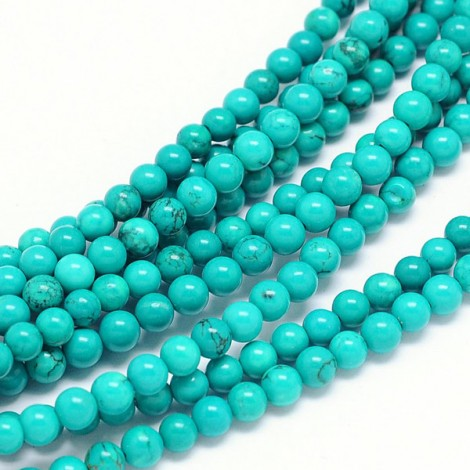 Perles gemmes rondes 6mm Turquoise du Xinjiang (x25)