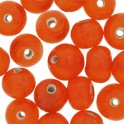 Perles rondes en verre 6mm orange translucide (x40)