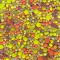 Perles indiennes en verre 4 à 10mm assortiment jaune orange (x25g)